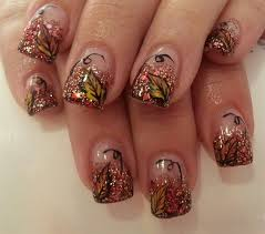 cute glitter fall leaves nails art 2014 thanksgiving pink polish