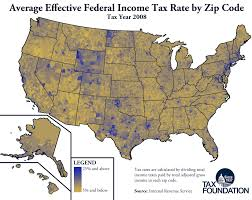 Us Map Of Time Zones by Monday Map Effective Federal Income Tax Rates By Zip Code Tax