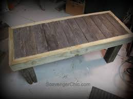 pallet wood rustic bench coffee table diy scavenger chic