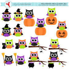 halloween owls clipart set clip art set of owls halloween