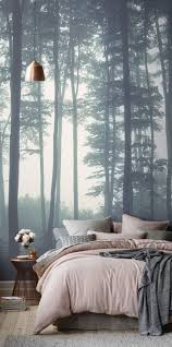 sea of trees forest mural wallpaper bedroom feature walls