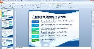 or summary layout in powerpoint presentation