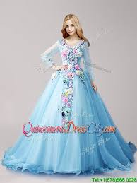 baby blue quinceanera dresses classical v neck sleeves baby blue quinceanera dresses with