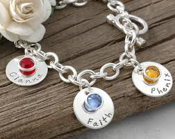 name charms seven disc personalized name charm bracelet with birthstones