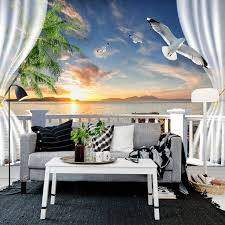 beibehang custom photo wall paper 3d balcony curtains sunset