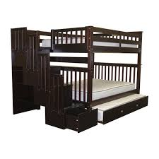 Compact Queen Bed Bedroom Trundle Bunk Bed With Stairs Compact Light Hardwood