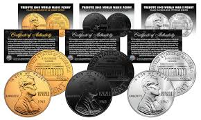 1943 tribute wwii steel penny coins 3 versions black ruthenium