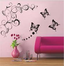 home decor wall art stickers butterfly vine flower wall art mural