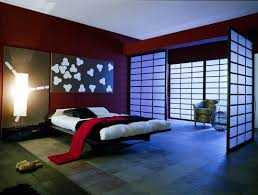 japanese bedroom design blending the wooden floor and red wall