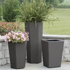 Concrete Planters Outdoor Plant Pots Uk Flower Garden Herb Amp Tray Set Latest