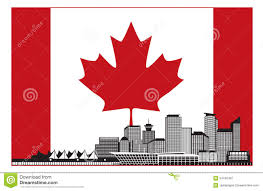 Flag British Columbia Vancouver Bc Canada Skyline In Canadian Flag Vector Illustration