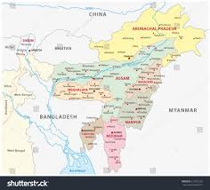 India Map World by Northeast India Map Stock Vector 211891252 Shutterstock