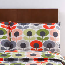 70s flower bedding tomato luxury bed linen bedroom orla kiely grey