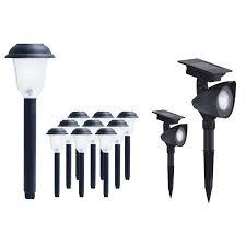 Solar Spot Lights Lowes by Shop Yards U0026 Beyond 10 Light Black Led Path Light Kit Includes 2