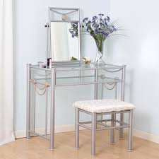 Silver Mirrored Bedroom Furniture Silver Wrought Iron Make Up Table With Tempered Glass Ladder Shelf