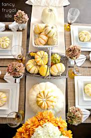 Fall Table Runners by Fall Table White Plates Pumpkin And Gourds In Baskets Cream
