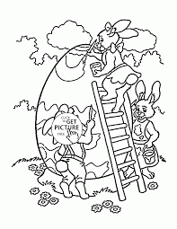 easter bunny with big egg coloring page for kids coloring pages