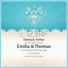 Wedding Invitation Design Blue Wedding Invitation Design Template With Doves Hearts