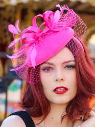 tea party fascinators hot pink fascinator with veil tea party hat church hat kentucky