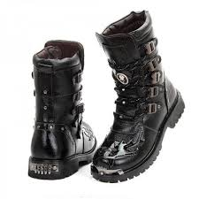 motorcycle footwear mens army boots genuine military leather metal gothic motorcycle top
