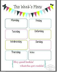 lunch menu template free weekly menu template free expin franklinfire co