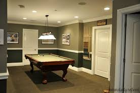 gorgeous basement decoration using two tone green paint color and