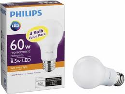philips 800 lumen 8 5w a19 led light bulb 60w equivalent 4 pack