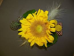 sunflower corsage corsage and boutonniere