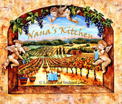 vineyard view kitchen tile backsplash with grapes vines angels