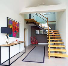 modern staircase in remodelled bungalow interior design