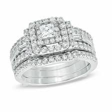 diamond double rings images 1 1 2 ct t w princess cut diamond double frame bridal set in 14k jpg