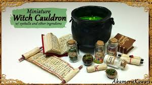 halloween witch pot miniature cauldron u0026 potion ingredients polymer clay tutorial