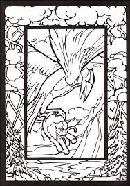 mythological creatures stained glass coloring book 016979