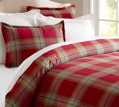 Red Duvet Set Blake Plaid Duvet Cover U0026 Sham Pottery Barn