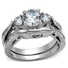 Cubic Zirconia Wedding Rings by Artk1w002 Stainless Steel 316 2 50 Ct Cubic Zirconia Wedding Ring