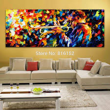 Canvas Home Store by 2017 Midmight Blues Soul Trumpet Play Palette Knife Oil Painting