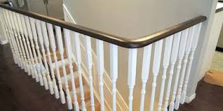 Banisters And Handrails Remodelaholic Updating An Oak Stair Or Handrail To White And Walnut