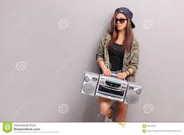 Cool Teenage In Hip Hop Holding A Radio Stock Photo