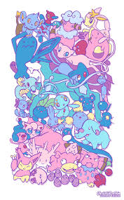 cute pokemon pink and blue mew clefairy horsey chansey