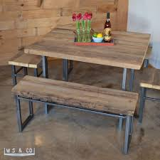 Wood Table With Metal Legs Bench 48