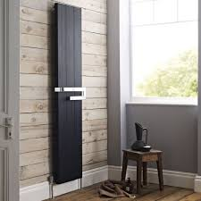 Modern Bathroom Radiators Reed Ceylon Black Flat Vertical Designer Radiator With