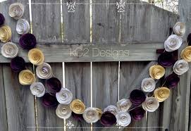 Plum Wedding Paper Flower Garland Purple Garland Gold Garland Plum Wedding