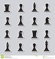 White Chess Set Chess Set Strategy Black And White Illustration With Pawns Stock