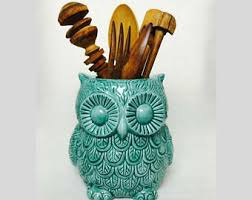 kitchen utensil holder owl decor cooking gift large utensil