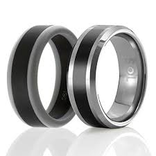 rubber wedding rings sol set of 2 1 tungsten wedding band and 1 silicone