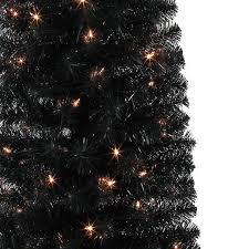 black christmas trees 6 ft pre lit shiny black slim artificial christmas tree clear