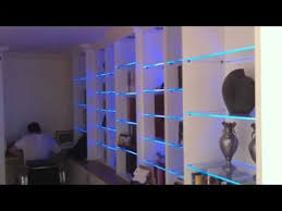 Lights For Bookshelves Bookcase With Led Glass Shelf Lights Youtube