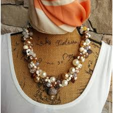 chunky pearl bib necklace images Bridal pearl statement necklace handmade chunky bib collar jpg