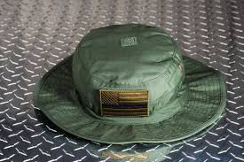 Subdued American Flag With Thin Blue Line Thin Blue Line American Flag Boonie Hat Od Green Hometown