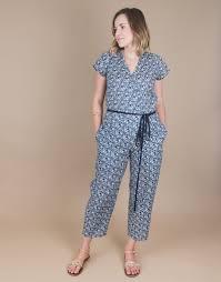 cotton jumpsuit small batch casual chic floral cotton jumpsuit bauh designs